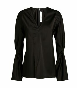V-Neck Gathered-Sleeve Blouse