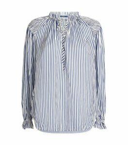Stripe Print Ruffle Blouse