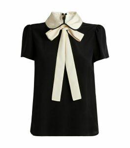 Silk Contrast Collar Blouse