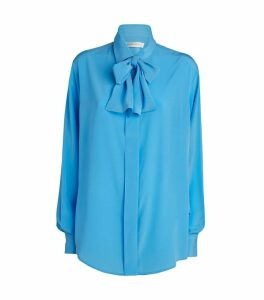Silk Tie-Neck Blouse