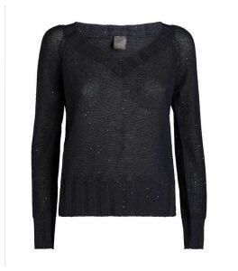 Sequin-Embellished V-Neck Sweater