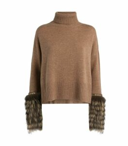 Rollneck Fur-Cuff Sweater