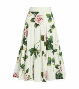 Tropical Rose Print Skirt