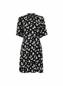 Womens Monochrome Floral Print Bubble Sleeve Mini Dress - Black, Black