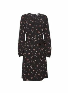 Womens Dp Tall Black Floral Print Skater Dress - Fl Multi, Fl Multi
