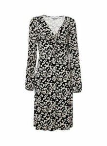 Womens Dp Tall Black Ditsy Print Ruched Dress, Black