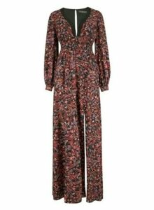 Womens Little Mistress Multi Colour Floral Print Open Back Maxi Dress, Multi Colour