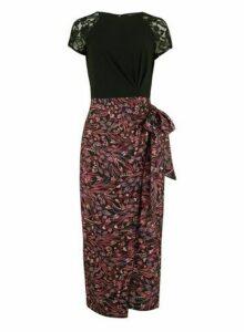 Womens Little Mistress Multi Colour Floral Print Short Sleeve Midi Dress, Multi Colour