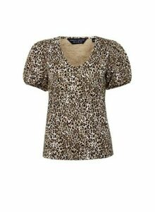 Womens Multi Colour Leopard Print V-Neck Jumper- Black, Black