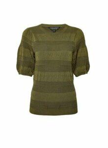 Womens Khaki Pointelle Puff T-Shirt, Khaki