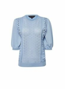 Womens Pale Blue Lace Front T-Shirt, Blue