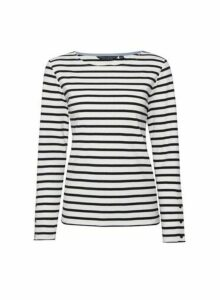 Womens White Navy Breton Stripe Top, White