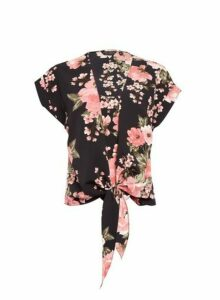 Womens Pink Floral Print 2-In-1 Tie Front T-Shirt- Black, Black