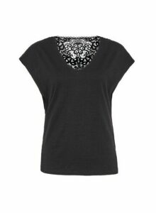 Womens Black Crochet Back T-Shirt, Black