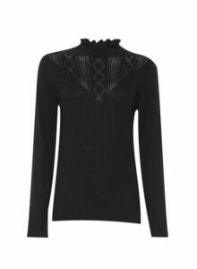 Womens Black Ruffle Pointel Jumper, Black
