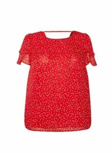 Womens Dp Curve Red Heart Print Ruffle Top, Red