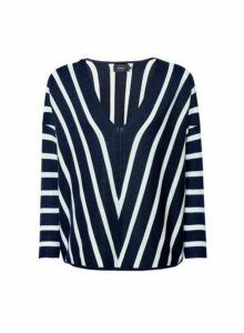 Womens **Only Navy Knitted Jumper- Multi Colour, Multi Colour
