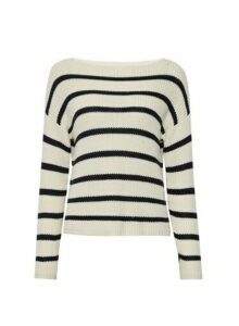 Womens **Only Navy And White Striped Jumper- Multi Colour, Multi Colour