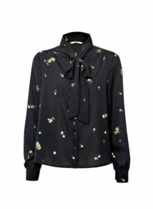 Womens **Only Multi Colour Ditsy Floral Print Blouse- Black, Black