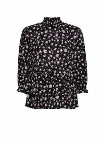 Womens Black Floral Print Top, Black