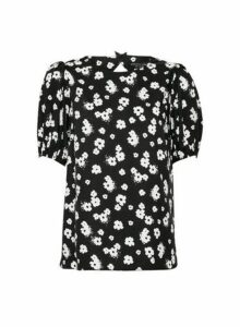 Womens Black Keyhole Back Puff Sleeve Top, Black