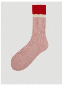 Prada Intarsia Knit Socks in Pink size 3