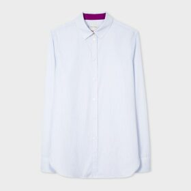 Women's Slim-Fit Light Blue Pinstripe Cotton Shirt
