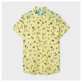 Women's Yellow 'Screen Bud' Print Silk Short-Sleeve Shirt