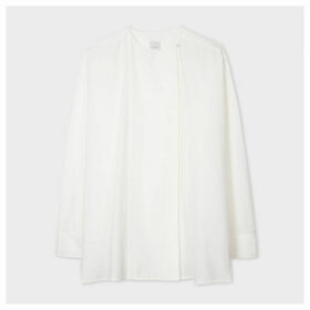 Women's White Cotton And Silk-Blend Collarless Shirt