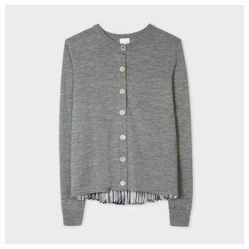 Women's Grey Cardigan With 'Movement' Pleated Back Panel