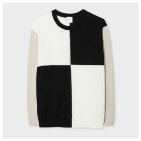 Women's Black And Cream Colour-Block Cotton Sweater