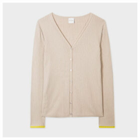 Women's Beige Cotton-Blend Ribbed Cardigan