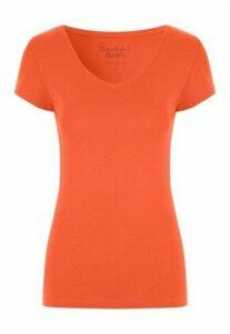 Womens Orange V-Neck T-Shirt