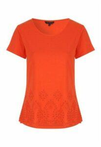 Womens Orange Broderie Hem T-Shirt