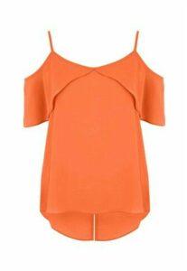 Womens Orange Strappy Cold Shoulder Top