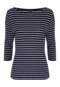 Womens Navy Stripe Boat Neck Top