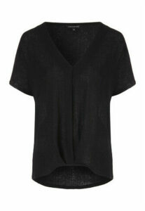 Womens Black Pleat Front Top