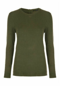 Womens Khaki Button Back Jumper
