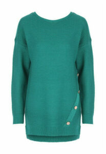 Womens Green Ribbed Button Detail Jumper
