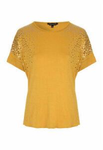 Womens Mustard Foil Spot Top