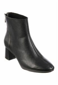 Womens Black Block Heel Leather Boots