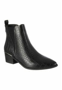 Womens Black Crocodile Effect Chelsea Boots