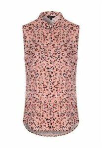 Womens Pink Leopard Sleeveless Blouse