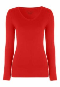 Womens Red V-Neck Long Sleeve Top