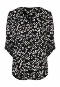 Womens Monochrome Floral Pleat Front Blouse