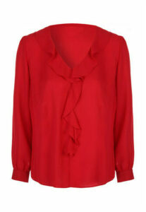 Womens Red Ruffle Front Long Sleeve Top