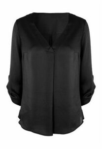 Womens Black Textured Blouse