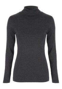 Womens Charcoal Roll Neck Top