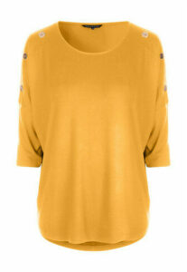 Womens Mustard 3/4 Sleeve Button Detail Top