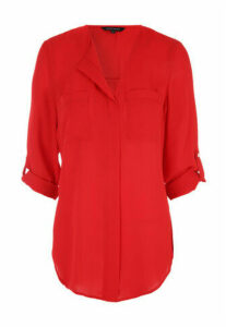 Womens Red Utility Zip Blouse